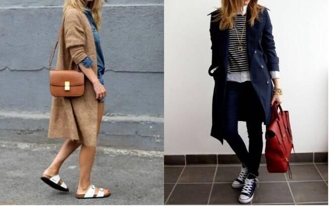 As sandálias birken (esq.) estão fazendo sucesso na Alemanha, assim como as roupas da moda que seguem o estilo 'navy'