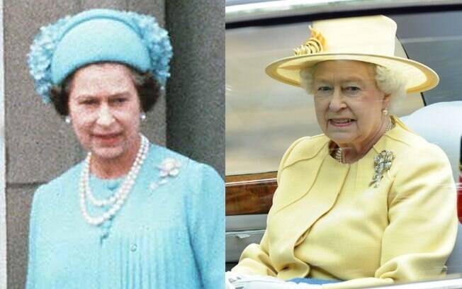 A Rainha Elizabeth II, mesmo estilo aos 55 e 84 anos: traje em cor pastel, chapéu discreto, pérolas e broche