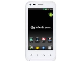 Gradiente exibe em seu site celular com a marca iPhone, que a empresa afirma ter registrado no Brasil em 2008