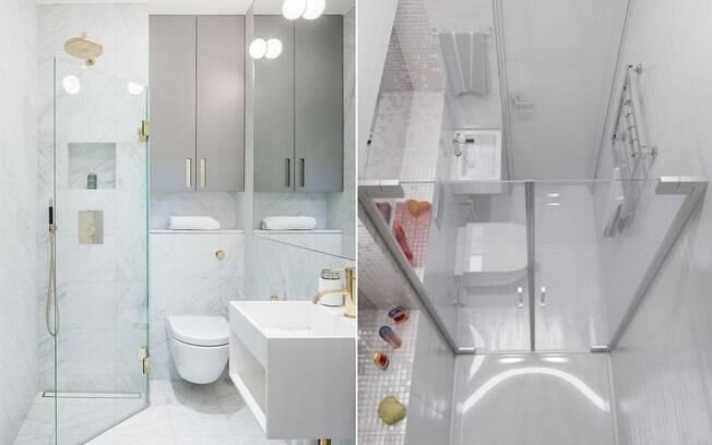 Paredes, louças e objetos brancos ou de cores clarinhas favorecem banheiros pequenos