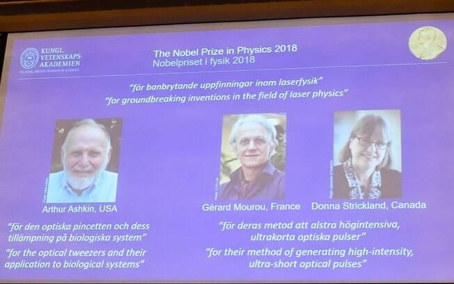 Vencedores do Nobel de Física são o americano Arthur Ashkin, o francês Gérard Mourou e a canadense Donna Strickland