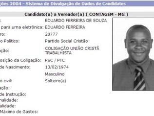 Eduardo Ferreira foi candidato a vereador em Contagem no ano de 2004