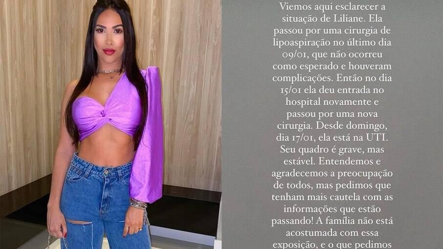 Liliane Amorim está na internada na UTI após complicações em lipoaspiração