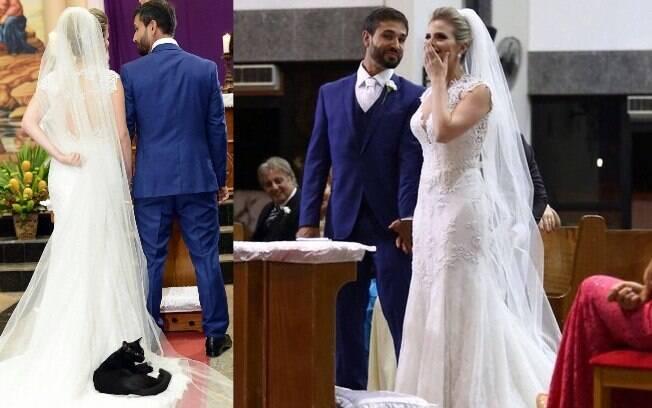 Noivos se surpreendem ao perceber que um gato preto estava deitado no vestido da noiva durante o casamento