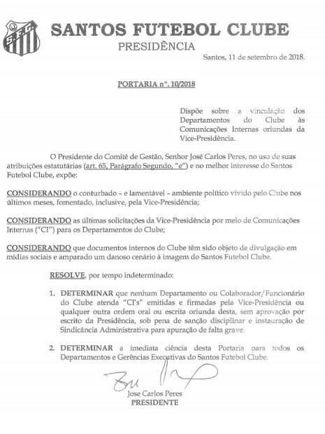 Comunicado interno de José Carlos Peres no Santos
