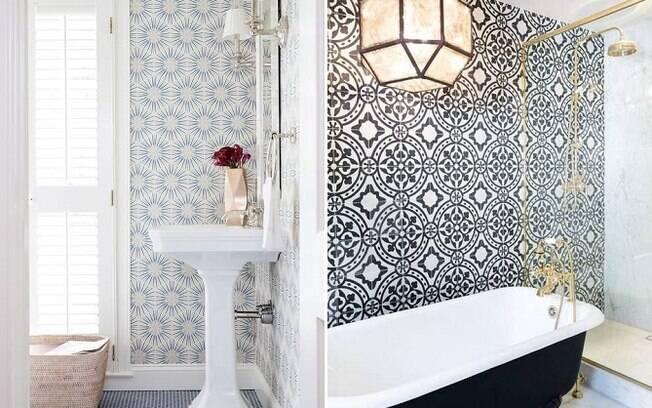 Alguns tipos de papeis de parede podem ser utilizados no banheiro e conferem um ar personalizado ao ambiente