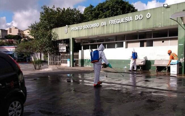 Higienização de áreas próximas a hospitais em São Paulo