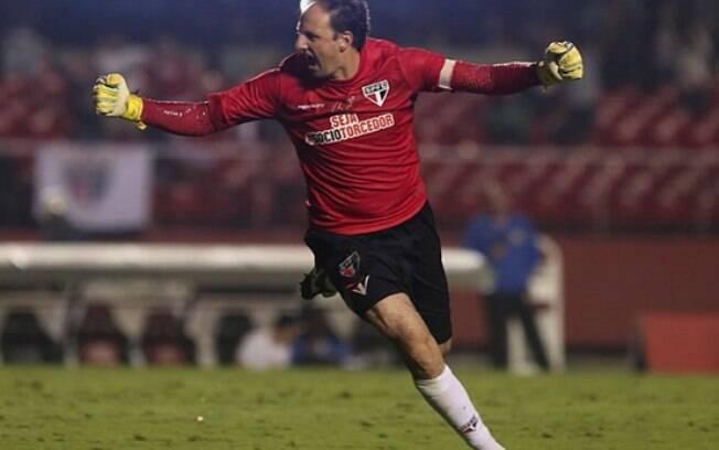 Rogério Ceni comemora gol do São Paulo sobre o Red BUll