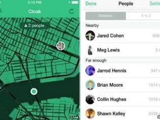 O aplicativo mostra a distância dos usuários