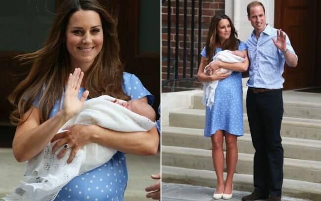 Kate Middleton, William e o filho: apesar da barriguinha saliente - apenas um dia após o parto - a Duquesa de Cambridge já estava em ótima forma