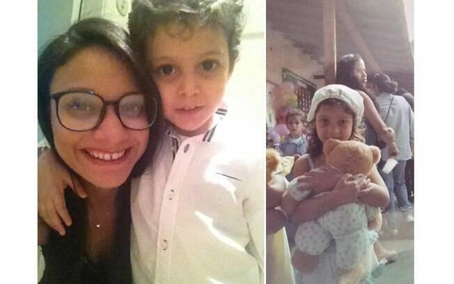 À esquerda, Beatriz posa com o filho hoje e, à direita, aparece aos quatro anos perto de um garoto bem parecido com ele