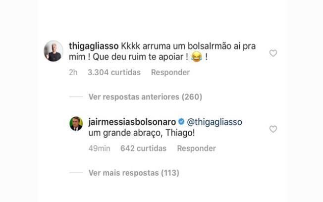 Irmão de Bruno Gagliasso brinca com candidato à presidência Jair Bolsonaro (PSL)