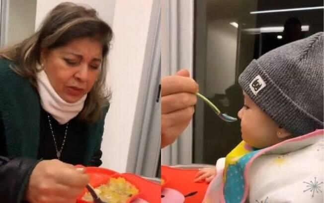 Roberta Miranda conhece filha de Sabrina Sato e dá papinha para ela