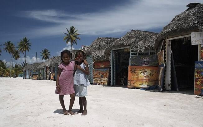 Lojinhas na paradisíaca Ilha de Saona,na República Dominicana