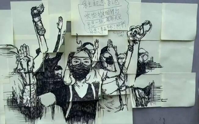 Artes dos protestos em Hong Kong preenchem as ruas da região