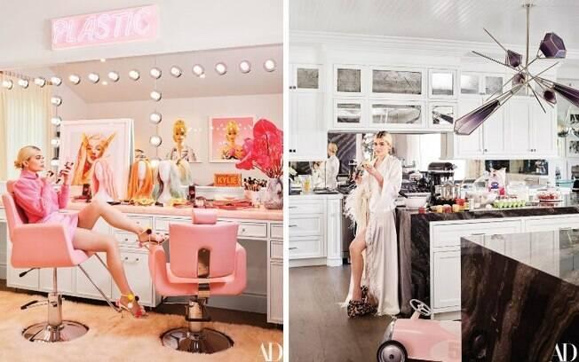 Kylie Jenner abre sua mansão em Los Angeles, na Califórnia, e mostra detalhes dos cômodos, que contam com muito luxo
