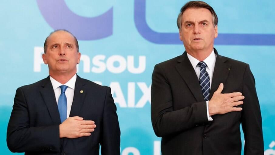 O presidente Jair Bolsonaro e o ministro do Emprego e Renda, Onyx Lorenzoni