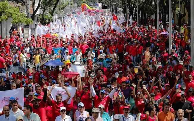 Manifestações em favor do presidente Maduro se concentraram principalmente nas ruas da Venezuela