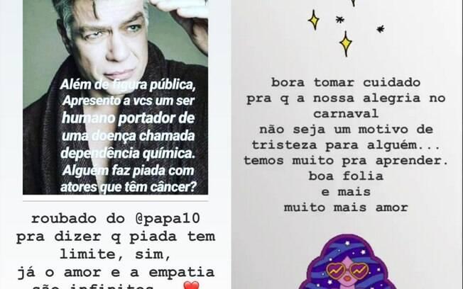 Carolina Dieckman usa os Stories para defender Fabio Assunção