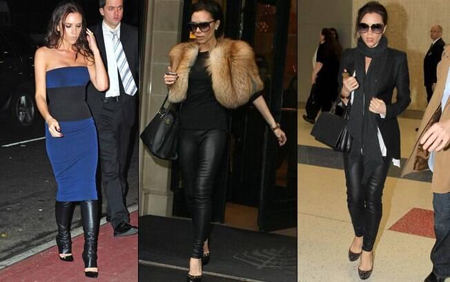 A estilista Victoria Beckham usa a calça até com vestido