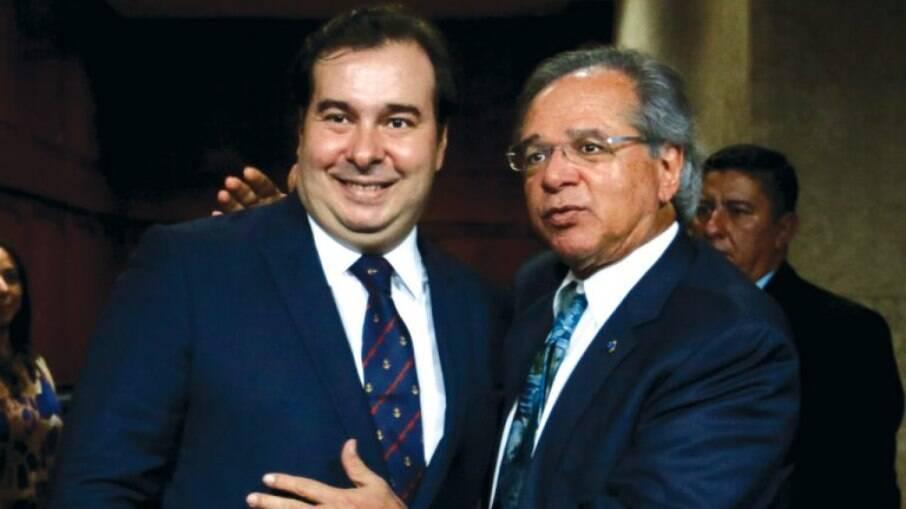 O presidente da Câmara dos deputados, Rodrigo Maia (DEM - RJ) e o ministro da Economia, Paulo Guedes