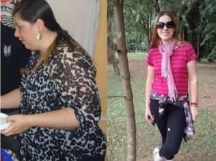 Cristiane com 101 kg em setembro de 2013 e com 66 kg neste ano