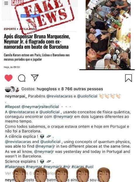 Fim de Brumar! Neymar compartilha imagem com manchete sobre fim do seu namoro com Bruna Marquezine, desmentindo encontro com a ex-Camila Karam