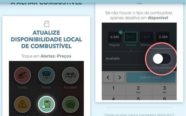 Usuários do Waze eram convidados a contribuir com a comunidade compartilhando informação sobre a disponibilidade de combustível nos postos onde passavam