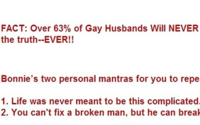 Fato citado no site 'Gay Husbands': 63% dos maridos gays nunca vão contar a verdade para suas mulheres