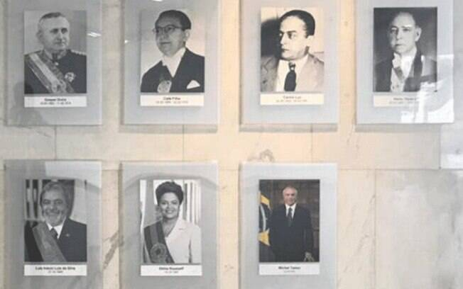 Tradicionalmente, galeria com o retrato dos presidentes da República conta com fotos em preto e branco dos antecessores e em colorido, apenas, do atual