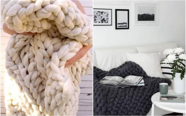 Peças de lã já são sinônimo de conforto, agora, imagine curtir um friozinho sob uma coberta de tricô gigante?