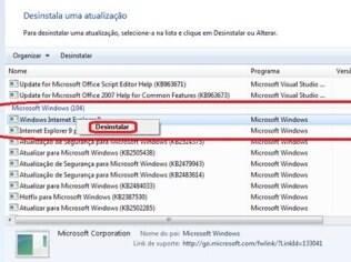 IE9 pode ser removido no painel de controle do Windows