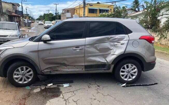 Carro da ex-nadadora após acidente