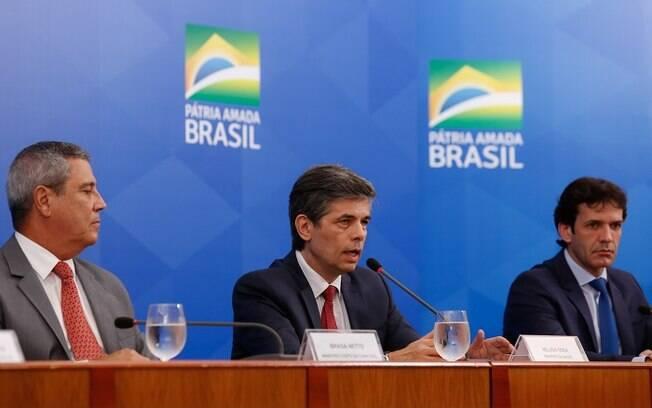 Ministro da Saúde em entrevista coletiva no Palácio do Planalto