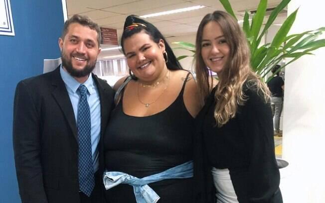 Thais Carla e advogados, Ives Bittencourt e Janaína Abreu