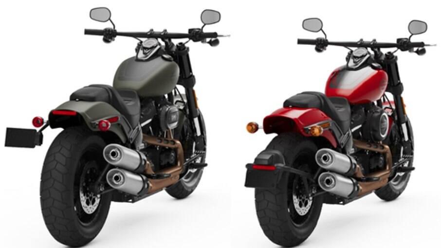 À esquerda, a versão 2021 da Fat Bob, com o suporte de placa na lateral. À direita, a Fat Bob 2020