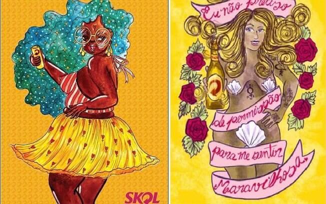 Publicidade:  à esquerda a arte da Evelyn Queiroz e à direita da Sirlaney Nogueira