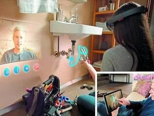 Demonstração. Jovem usa Skype no HoloLens integrando realidade e holograma