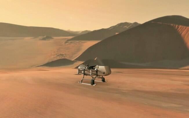 Concepção artística do veículo da missão Dragonfly em Titã: exploração avançada
