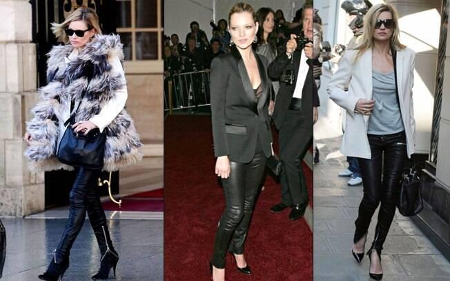 Kate Moss é a musa das calças de couro: até em tapete vermelho a top usa o modelo