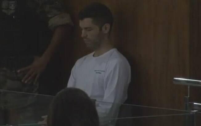 Tiago Rocha durante o julgamento que o condenou a 20 anos de prisão em regime fechado