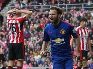 Juan Mata fez o único gol do Manchester United no empate contra o Sunderland