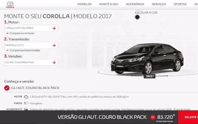 Configurador do Toyota Corolla GLi Upper com o pacote Black Pack.