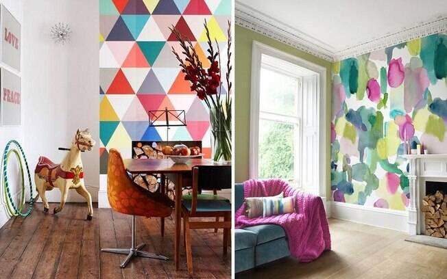 Aplicar um papel de parede é uma opção prática para trazer cor aos cômodos