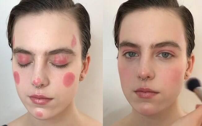 Truques de maquiagem: maquiadora russa ensina a criar um visual natural usando apenas blush em bastão na cor rosa