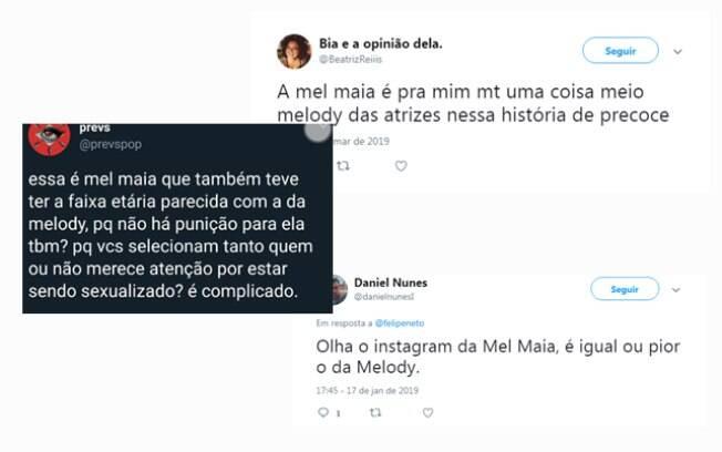 Público compara Melody e Mel Maia