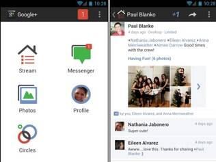 Nova interface do aplicativo do Google+ para Android