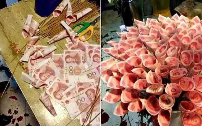 Rapaz chinês surpreende com buquê feito de dinheiro