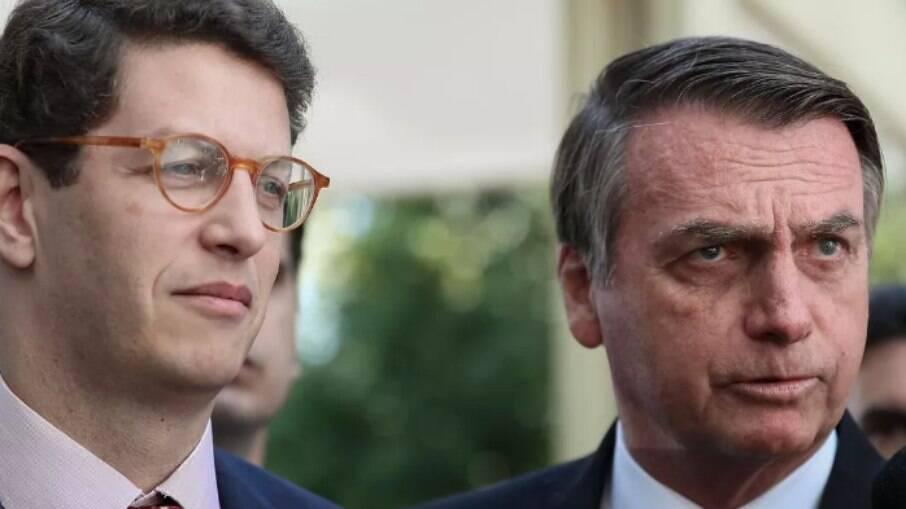 O ministro do Meio Ambiente, Ricardo Salles, e o presidente Jair Bolsonaro