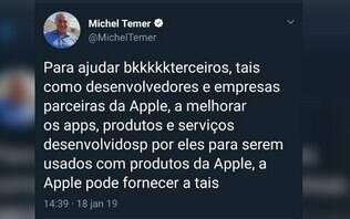 """Temer afirma que teve conta do Twitter invadida após """"postagem sem sentido"""""""